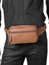 Fanny Pack 2 Compartments Etrier Brown flandres 69001-vue-porte
