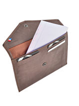 Wallet Leather Etrier Brown blanco 600054-vue-porte