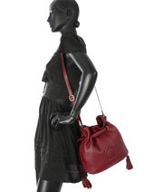 Shoulder Bag Paris Leather Etrier Red paris EPAR10-vue-porte