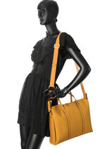 Briefcase 2 Compartments Etrier Yellow tradition EHER006-vue-porte