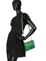 Shoulder Bag Cabriole Leather Etrier Green cabriole ECABR02-vue-porte