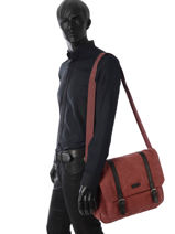Messenger Bag Etrier Red canvas ECAN02-vue-porte