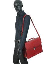 Briefcase 3 Compartments Etrier Red ECRO01-vue-porte
