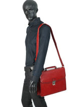 Briefcase 2 Compartments Etrier Red ECRO02-vue-porte