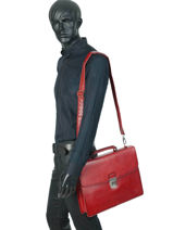 Briefcase 1 Compartment Etrier Red ECRO03-vue-porte
