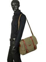 Messenger Bag Etrier Brown canvas ECAN02-vue-porte