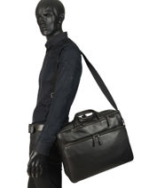 Leather Foulonné Briefcase/backpack Hybrid Etrier Black foulonne EFOU02-vue-porte
