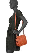 Shoulder Bag Darwin Leather Etrier Red darwin EDAR03-vue-porte