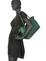 Leather Tote Bag Tradition Etrier Green tradition EHER25-vue-porte