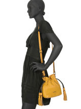 Small Bucket Bag Wellington Leather Etrier Yellow wellington EWEL02-vue-porte