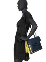 Shoulder Bag Escarpe Leather Etrier Blue escarpe EESC03-vue-porte