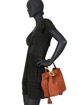 Medium Leather Bucket Bag Bangkok Etrier Brown bangkok EBAN03-vue-porte
