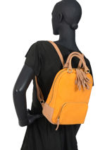 Leather Backpack Tornade Etrier Orange tornade ETOR11-vue-porte