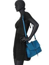 Shoulder Bag Obstacle Leather Etrier Blue obstacle EOBS07-vue-porte