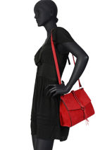 Shoulder Bag Obstacle Leather Etrier Red obstacle EOBS07-vue-porte