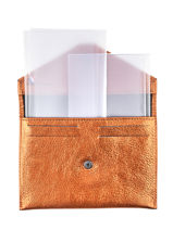 Leather Wallet Etincelle Etrier Orange etincelle irisee EETI054-vue-porte