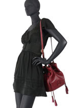Leather Bucket Bag Tradition Etrier Red tradition EHER29-vue-porte