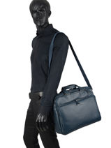 Leather Foulonné Briefcase/backpack Hybrid Etrier Blue foulonne EFOU02-vue-porte