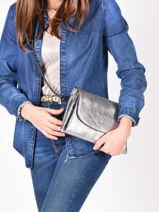 Shoulder Bag Etincelle Irisee Leather Etrier Silver etincelle irisee EETI01-vue-porte