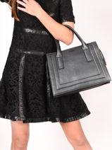 Leather Delicate Irisé Top Handle Bag Etrier Black delicate irise EDEI04-vue-porte