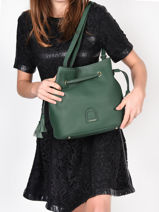 Leather Bucket Bag Tradition Etrier Green tradition EHER29-vue-porte