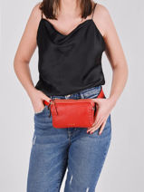 Leather Tradition Fanny Pack Etrier Red tradition EHER28-vue-porte