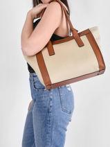 Shoulder Bag A4 Ecrins Leather Etrier White ecrins EECR11-vue-porte