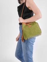 Shoulder Bag Tornade Leather Etrier Green tornade ETOR17-vue-porte