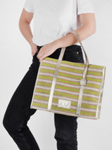 Canvas Tote Bag Made In France With Leather Trimming Etrier Green france EFRA01-vue-porte