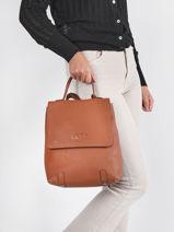 Leather Ecuyer Backpack Etrier Brown ecuyer EECU08-vue-porte