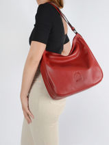 Shoulder Bag And Strap Balade Leather Etrier Red balade EBAL16-vue-porte