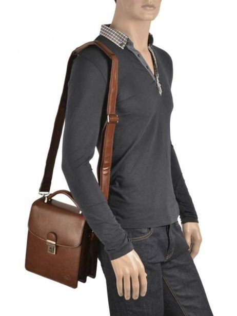 Messenger Bag 2 Compartments Etrier Brown 63026 other view 2