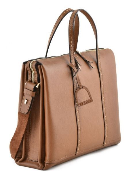 Briefcase 2 Compartments Etrier Brown tradition EHER006 other view 3