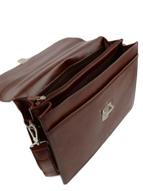 Briefcase 2 Compartments Etrier Brown 63041 other view 5