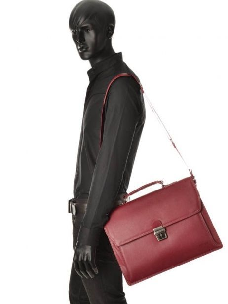 Briefcase 2 Compartments Etrier Red flandres 22148 other view 2