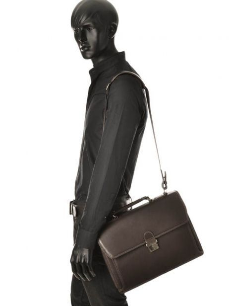 Briefcase 1 Compartment Etrier Brown flandres 22213 other view 2