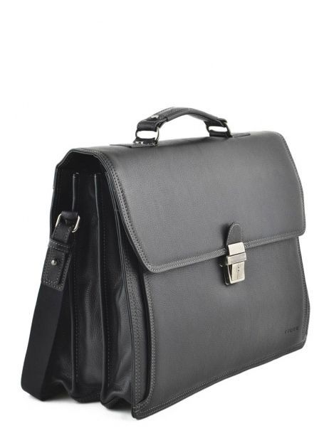 Briefcase 3 Compartments Etrier Black flandres 22217 other view 3
