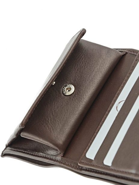 Wallet Leather Etrier Brown caro E33133 other view 4