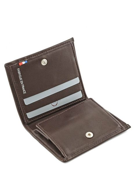 Wallet Leather Etrier Brown caro E33133 other view 3
