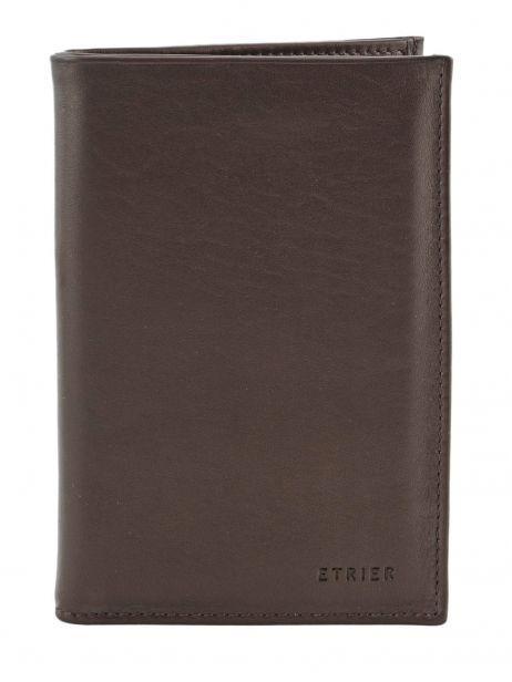 Wallet Leather Etrier Brown caro E33265