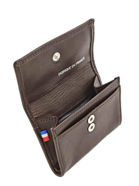 Wallet Leather Etrier Brown caro E33442 other view 3