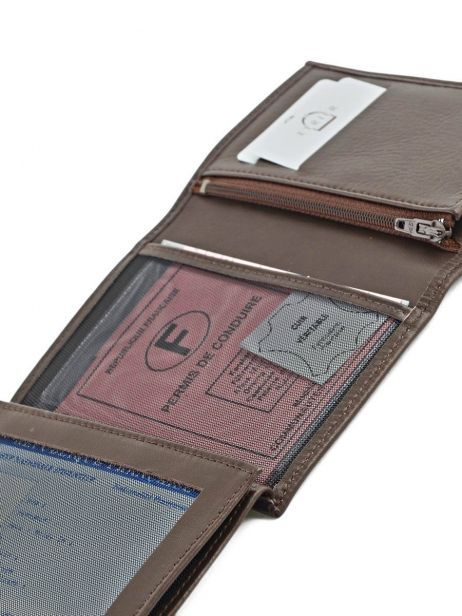 Wallet Leather Etrier Brown caro E33466 other view 4