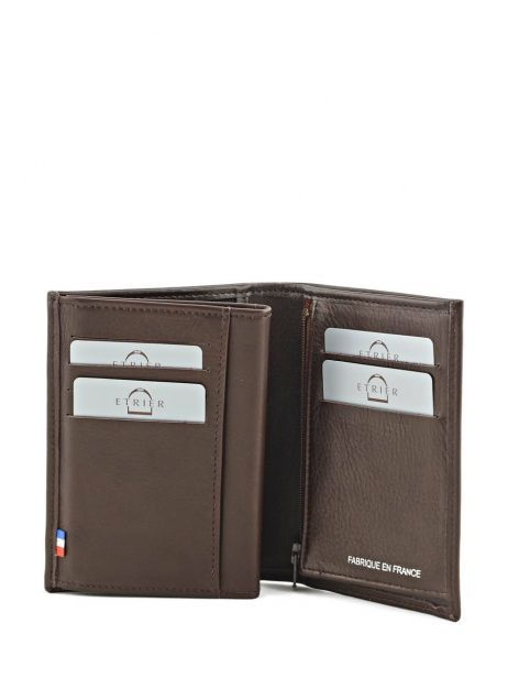 Wallet Leather Etrier Brown caro E33466 other view 3