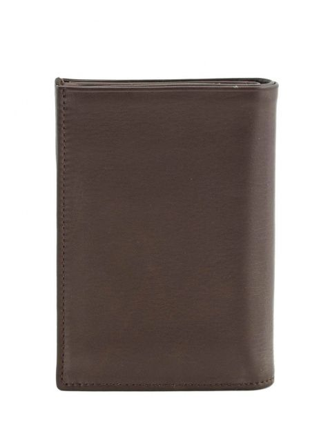 Wallet Leather Etrier Brown caro E33466 other view 2