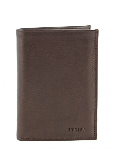 Wallet Leather Etrier Brown caro E33466