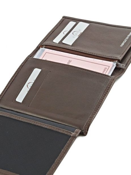 Wallet Leather Etrier Brown caro E33582 other view 4