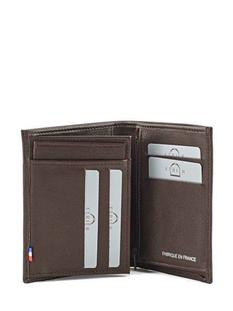 Wallet Leather Etrier Brown caro E33582 other view 3