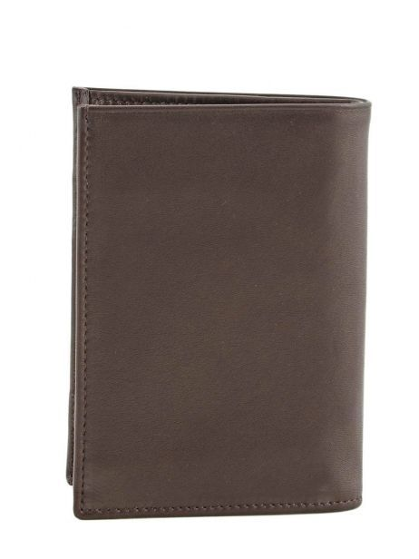 Wallet Leather Etrier Brown caro E33582 other view 2