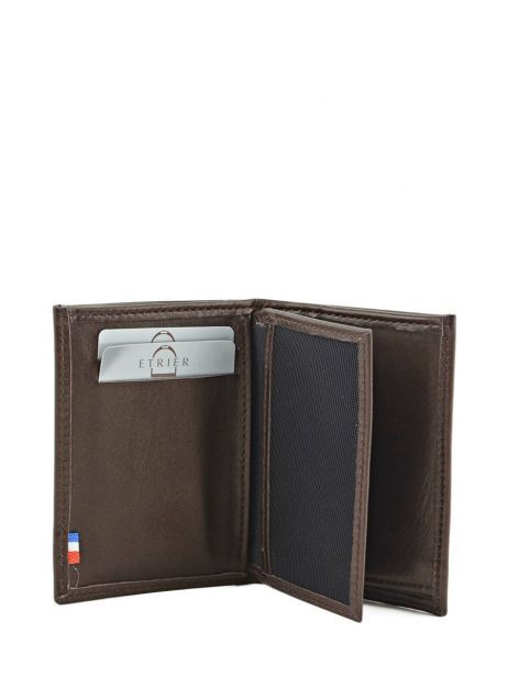 Wallet Leather Etrier Brown caro E33937 other view 3