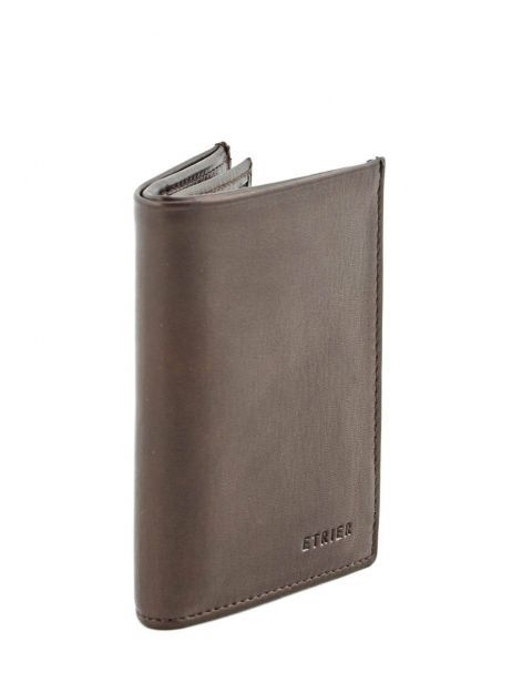 Wallet Leather Etrier Brown caro E33937 other view 1